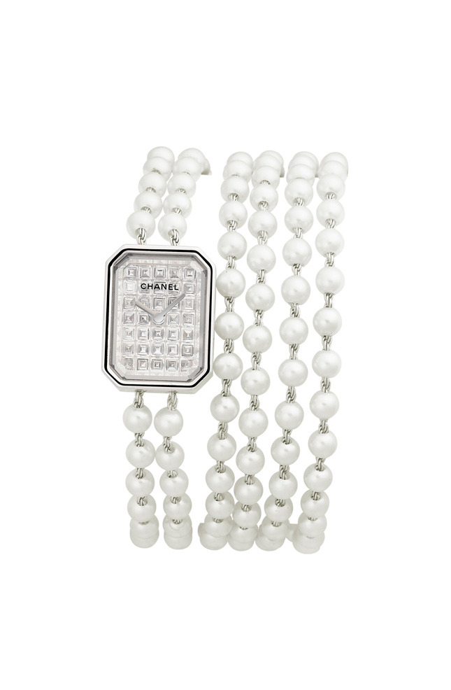 Premiere Perles watch, white gold, diamonds and pearls