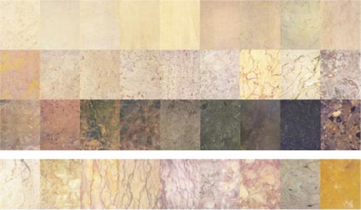 Calcários Portugal - gama cromática e textural