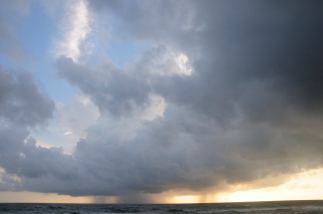 Monsoon rain the Indian Ocean across Bentota